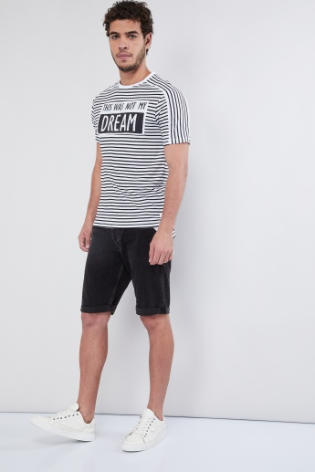 MAX Typographic Print Striped Crew Neck T-shirt