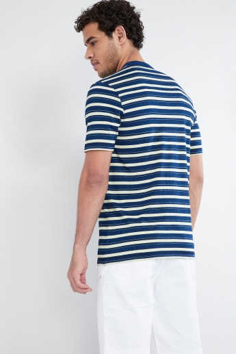 MAX Striped Short Sleeve Henley T-shirt