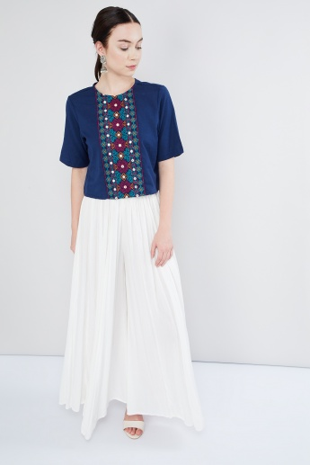 MAX Embroidered Tie-Up Back Top