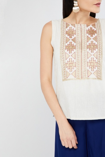 MAX Zari Embroidery Sleeveless Top