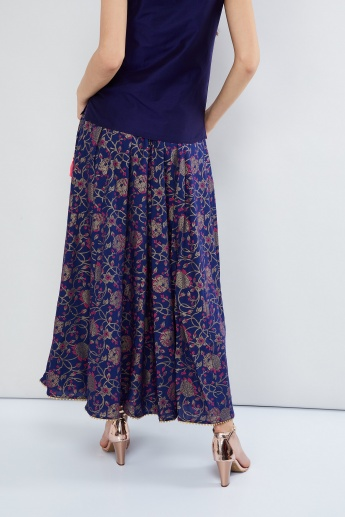 MAX Printed Flared Maxi Skirt