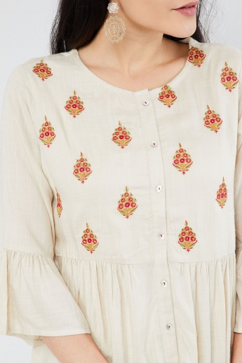 MAX Embroidered Button Placket Bell Sleeve Tunic