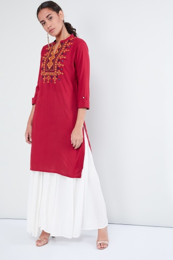 MAX Embroidered Yoke Band Collar Kurta