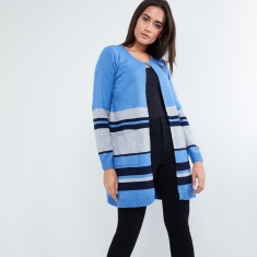 04d4a1bdfb57 MAX Striped Front-Open Long Cardigan