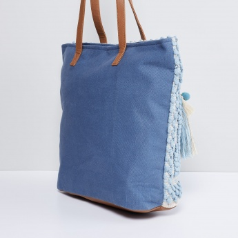 MAX Pom-Pom Tasselled Tote Bag