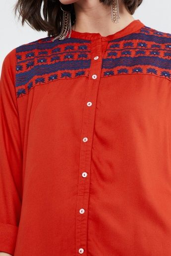 MAX Button Placket Straight Kurta with Embroidery