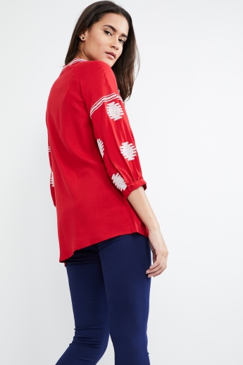 MAX Embroidered Tasselled Tie Neck Top