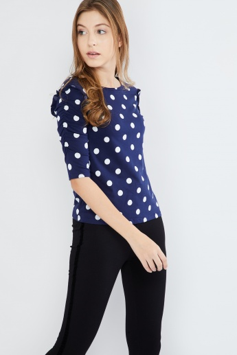 MAX Gathered Sleeves Polka-Dot Print Top