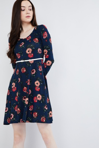 MAX Floral Print Skater Dress with Belt
