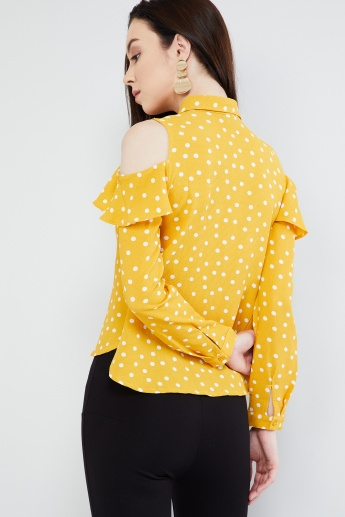 MAX Polka Print Cold Shoulder Blouse