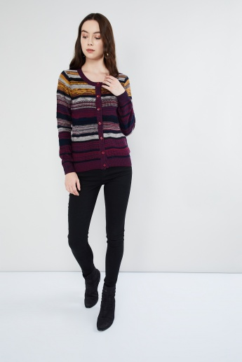 MAX Striped Long Sleeve Cardigan