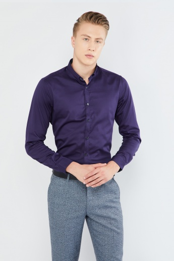 MAX Solid Slim Collar Long-Sleeve Shirt