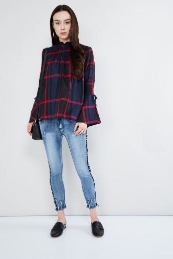 MAX Tie-Up Bell Sleeves High-Neck Checked Top