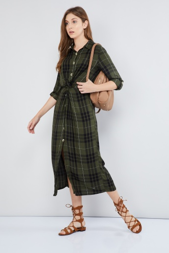 MAX Checked Front-Slit Midi Dress