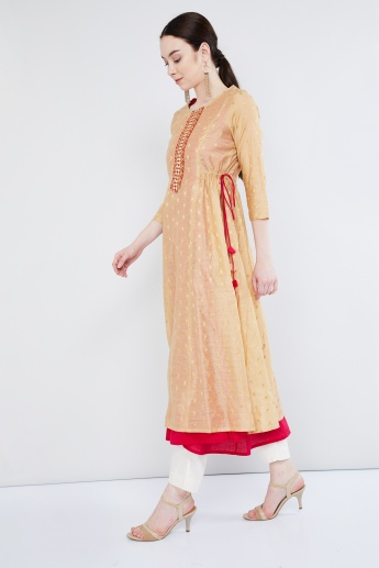 MAX Boota Textured Layered Kurta