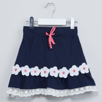MAX Floral Applique A-Line Skirt