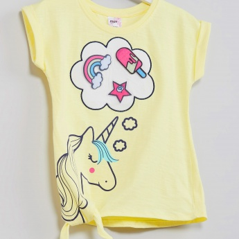 MAX Unicorn Print Tie-Up Hem Top