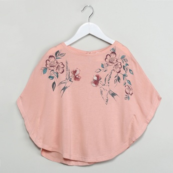 MAX Floral Print Cape Top with Rosette