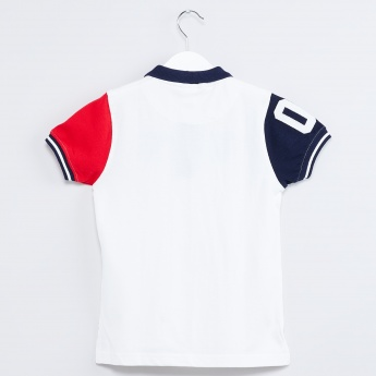 MAX Constrast Sleeve Pique Knit Polo T-shirt
