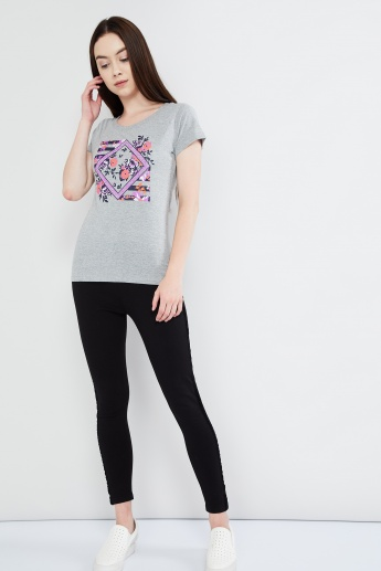 MAX Graphic Print Cap Sleeve Top