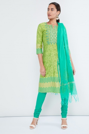 MAX Printed Mirrow-Work Kurta with Churidar & Dupatta