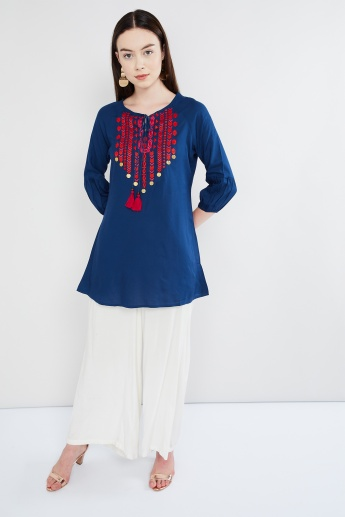 MAX Embroidered Tie-Up Neck Kurti
