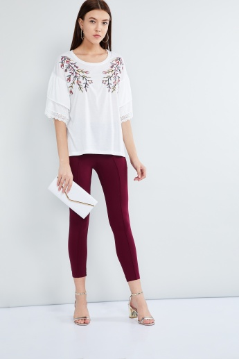 MAX Embroidered Tiered Bell Sleeves Top