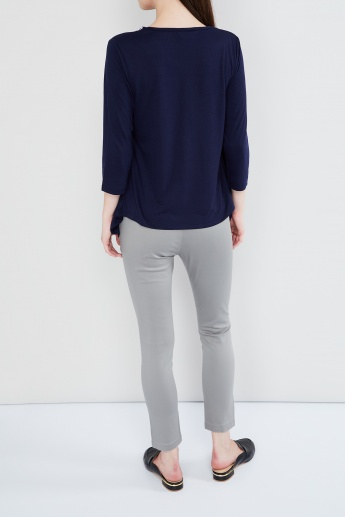 MAX Solid Ankle-Length Pants