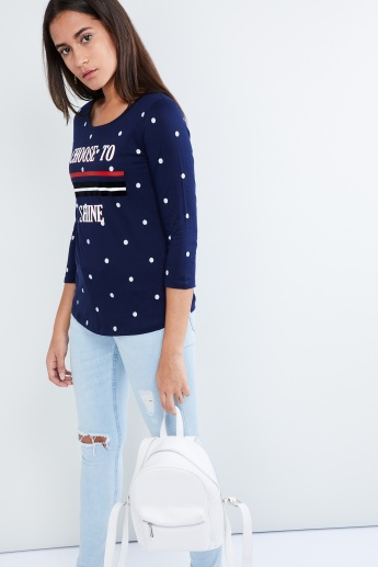 MAX Printed Three-Quarter Sleeve Top