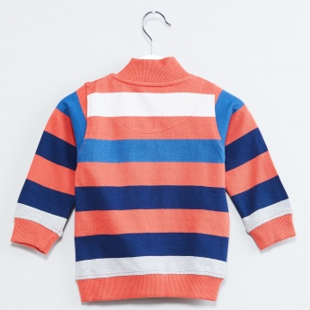 MAX Striped Zip Collar Sweatshirt