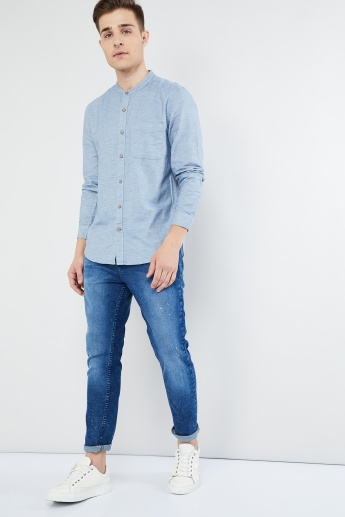 MAX Mandarin Collar Solid Shirt