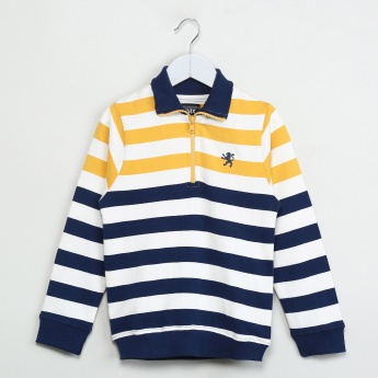 MAX Striped Full Sleeve Polo T-shirt