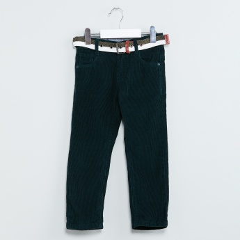 MAX Solid Low-Rise Corduroy Trousers