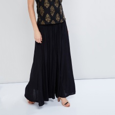 MAX Solid Crushed Maxi Skirt