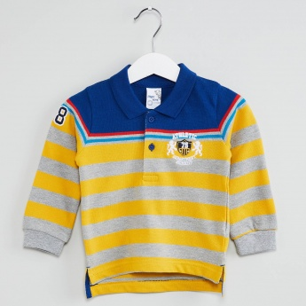 MAX Striped Polo Neck Knitted T-shirt