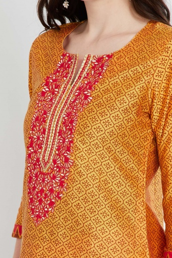 MAX Printed Embroidered Kurta with Churidar & Dupatta