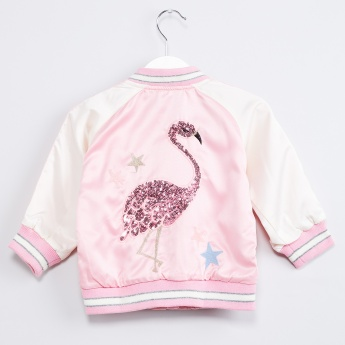 MAX Sequinned Flamingo Bomber Jacket
