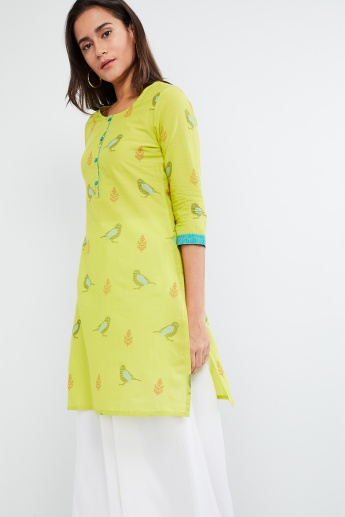 MAX Bird Print Three-Quarter Sleeve Kurta