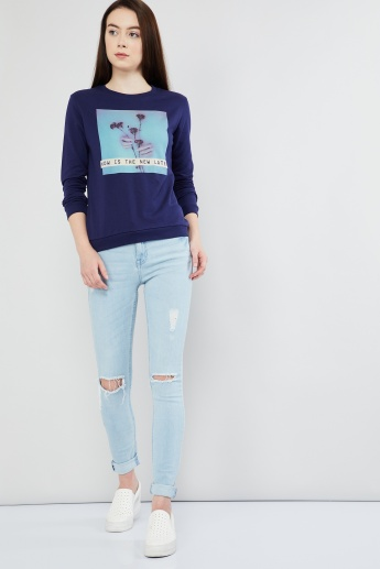 MAX Graphic Print Long Sleeve Sweatshirt