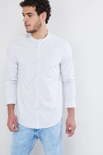 MAX Solid Band Collar Long-Sleeve Shirt