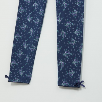 MAX Floral Print Leggings with Bow