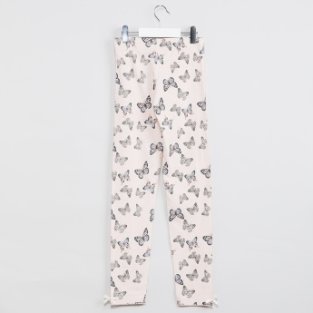 MAX Butterfly Print Bow Trim Leggings