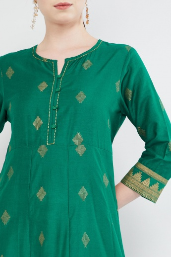 MAX Button Placket Foil Print A-line Kurta
