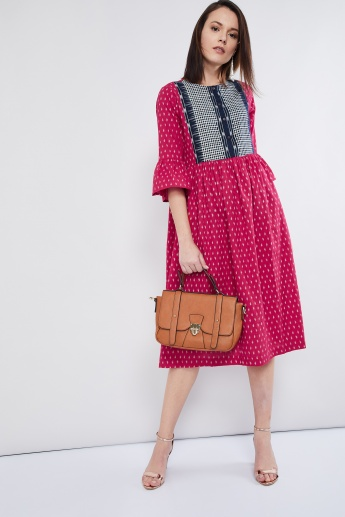 MAX Printed Bell Sleeves Midi Dress