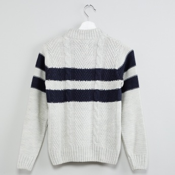 MAX Patterned Knit Colourblock Pullover with Button Placket