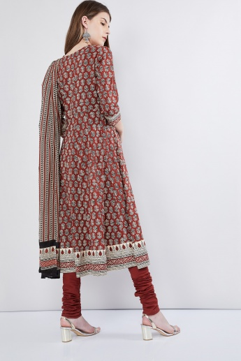 MAX Block Print Anarkali Kurta with Churidars & Dupatta