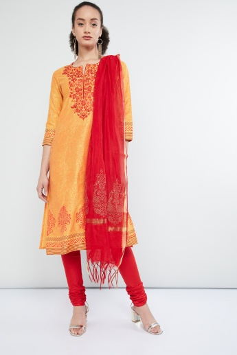 MAX Embroidered Kurta with Churidar and Dupatta