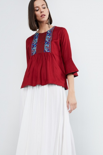 MAX Embroidered Peplum Top