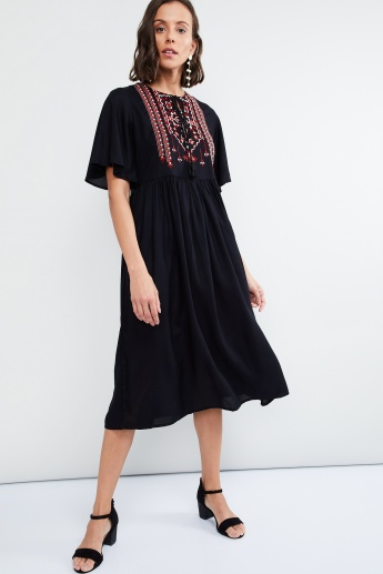 MAX Embroidrered Gathered Dress