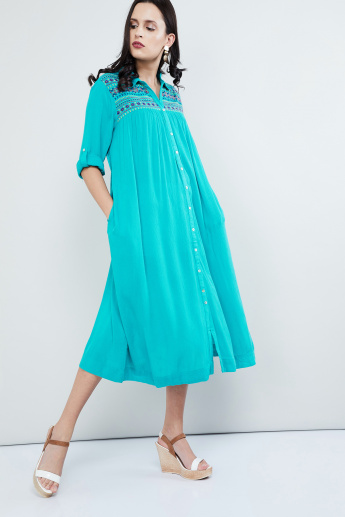 MAX Embroidered Rolled-Up Sleeves Shirt Dress